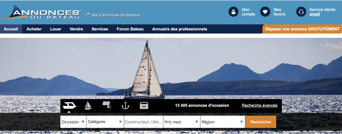 Annonces du Bateau is a boat sales website in France.