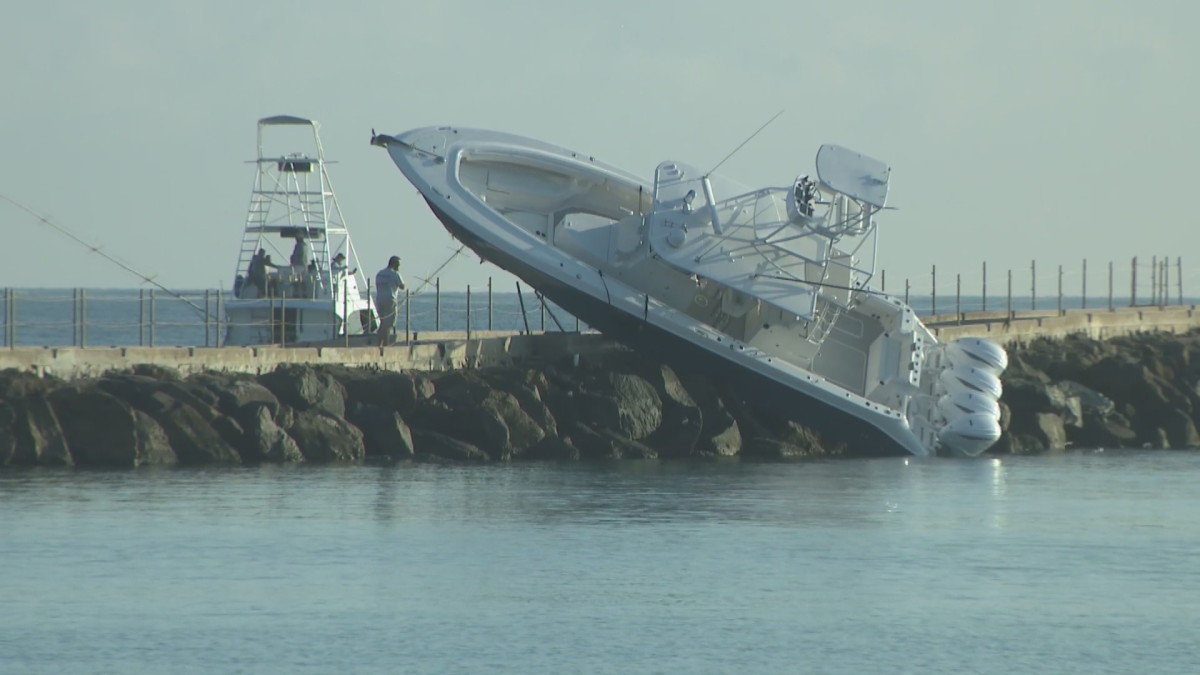 The 42-foot HCB center console struck the jetty on New Year's Eve.