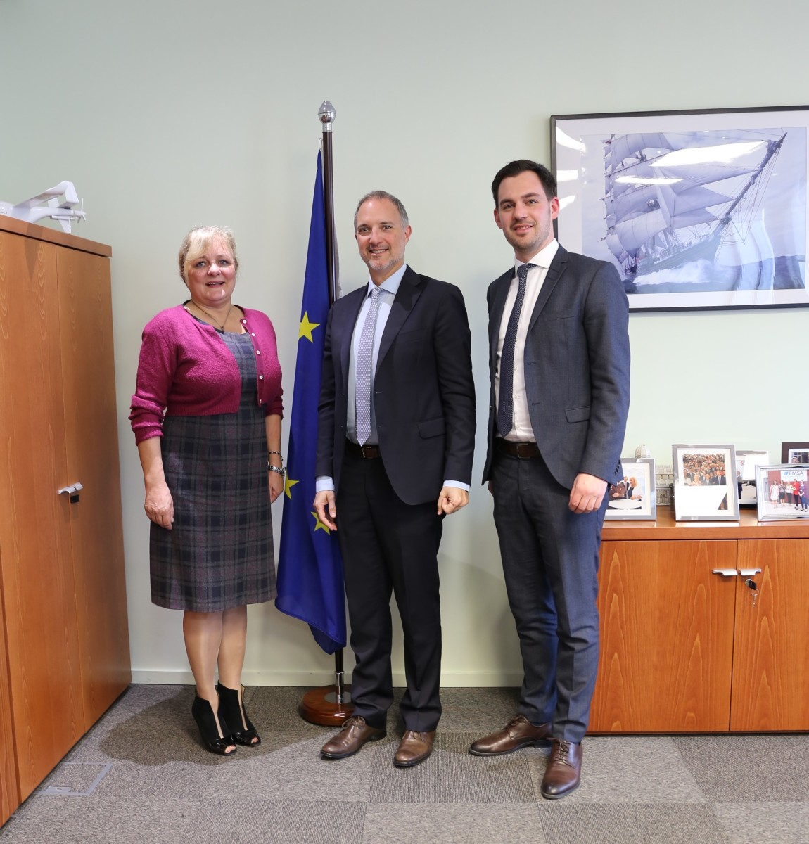 From left to right: Maja Markovčić Kostelac, Executive Director of the European Maritime Safety Agency (EMSA); Stefano Pagani Isnardi, Research Department Manager, Confindustria Nautica; Philip Easthill, Secretary-General of EBI