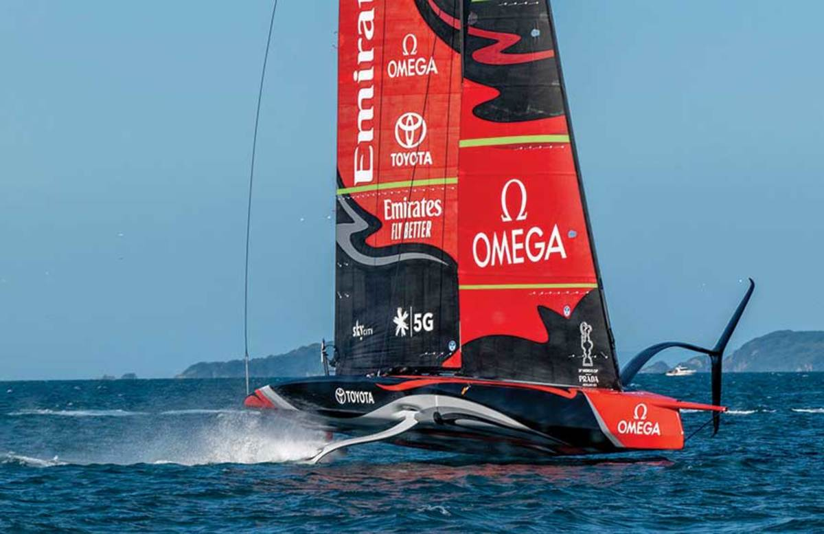 Adding suspense to the Cup buildup — and perhaps to play to Kiwi strengths in innovation and composites — racing will shift to a new foiling monohull. In 2019, the first boats were launched and are now literally flying.