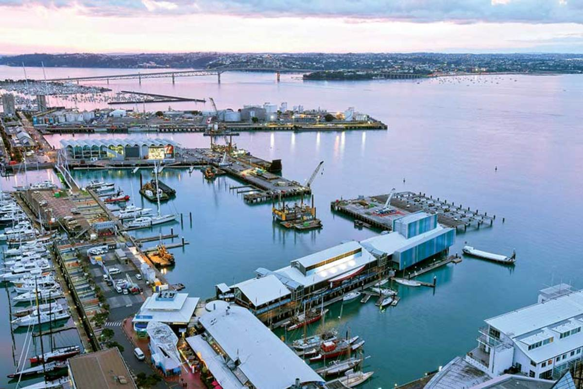 The Auckland waterfront has been the site of major redevelopment work to keep the America's Cup teams in close proximity, while providing 70 superyacht slips and improved public access.