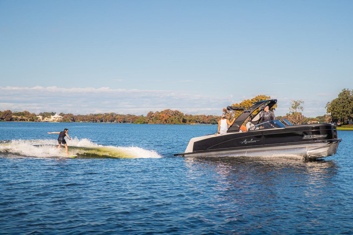 The Waketooon is the first pontoon boat with Volvo Penta's Forward Drive.