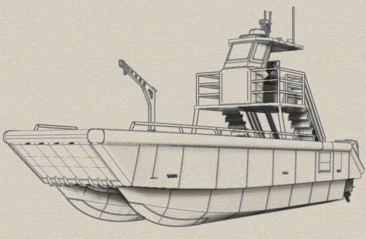 A rendering of the landing craft that Metal Shark will provide for use to the Bahamas National Trust.