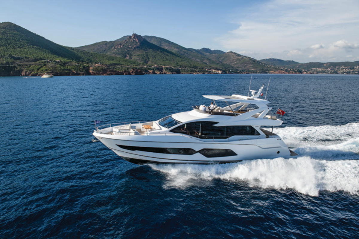 The Sunseeker 76 competes with other U.K. and Italian brands rather than U.S. yacht builders.