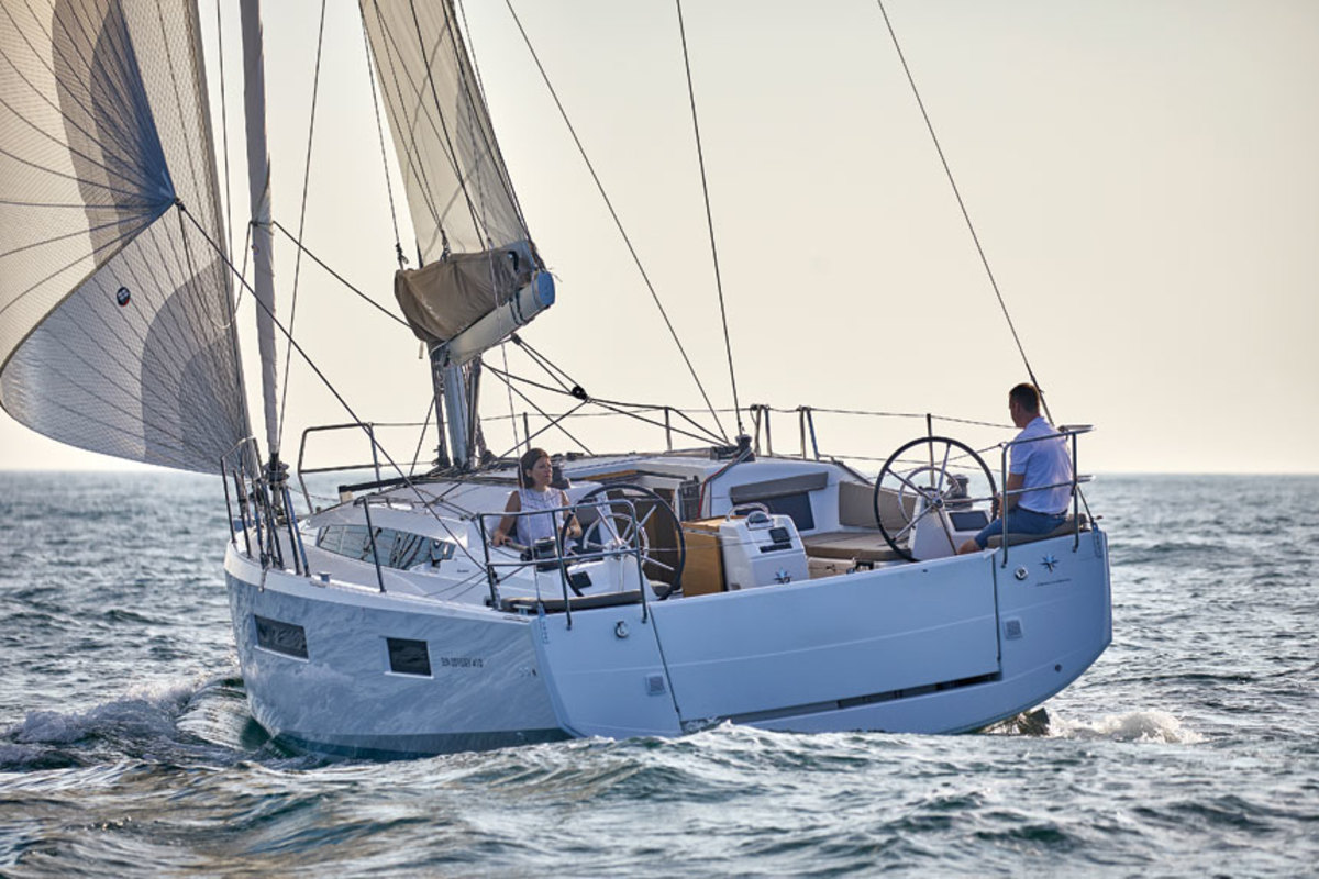 The Jeanneau Sun Odyssey 410's winches, sheets and other sail controls are accessible to the helm, allowing the skipper to handle everything underway.