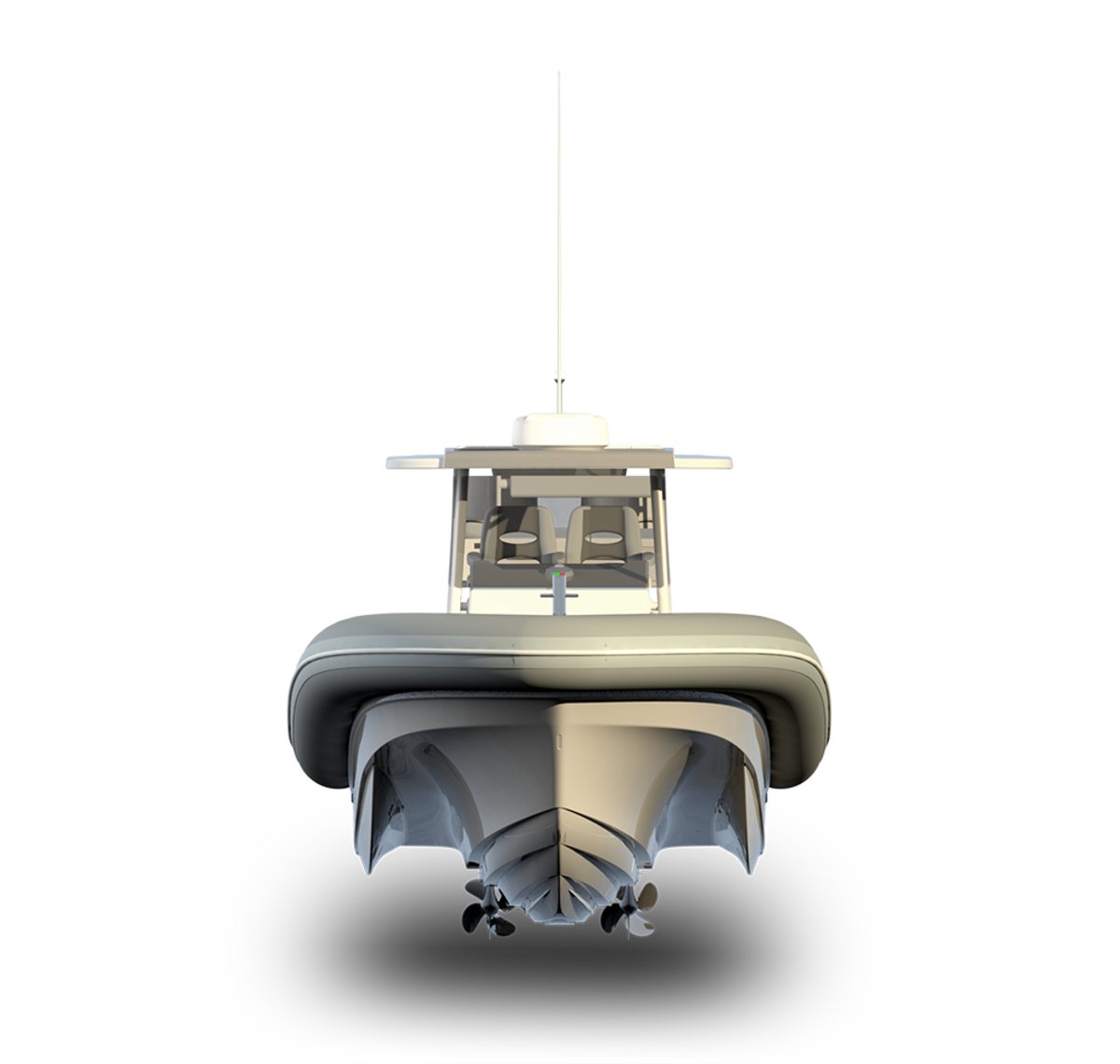 The boat combines a stepped hull with outer sponsons that enhance stability.
