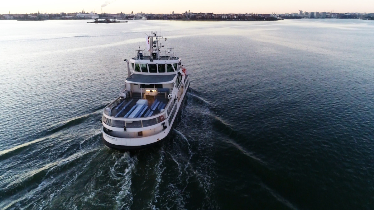 Look ma, no captain. The ferry Suomenlinna II being controlled remotely during a trial in Helsinki Harbor.