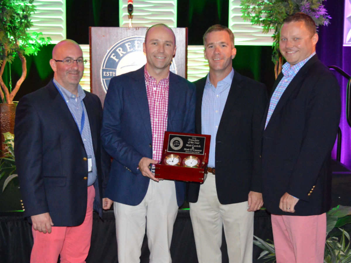 Franchise of the Year award winners Matt Carrick, Matt O'Connor and Matt Paolo of Boston/Cape Cod, with Freedom Boat Club President and CEO John Giglio.