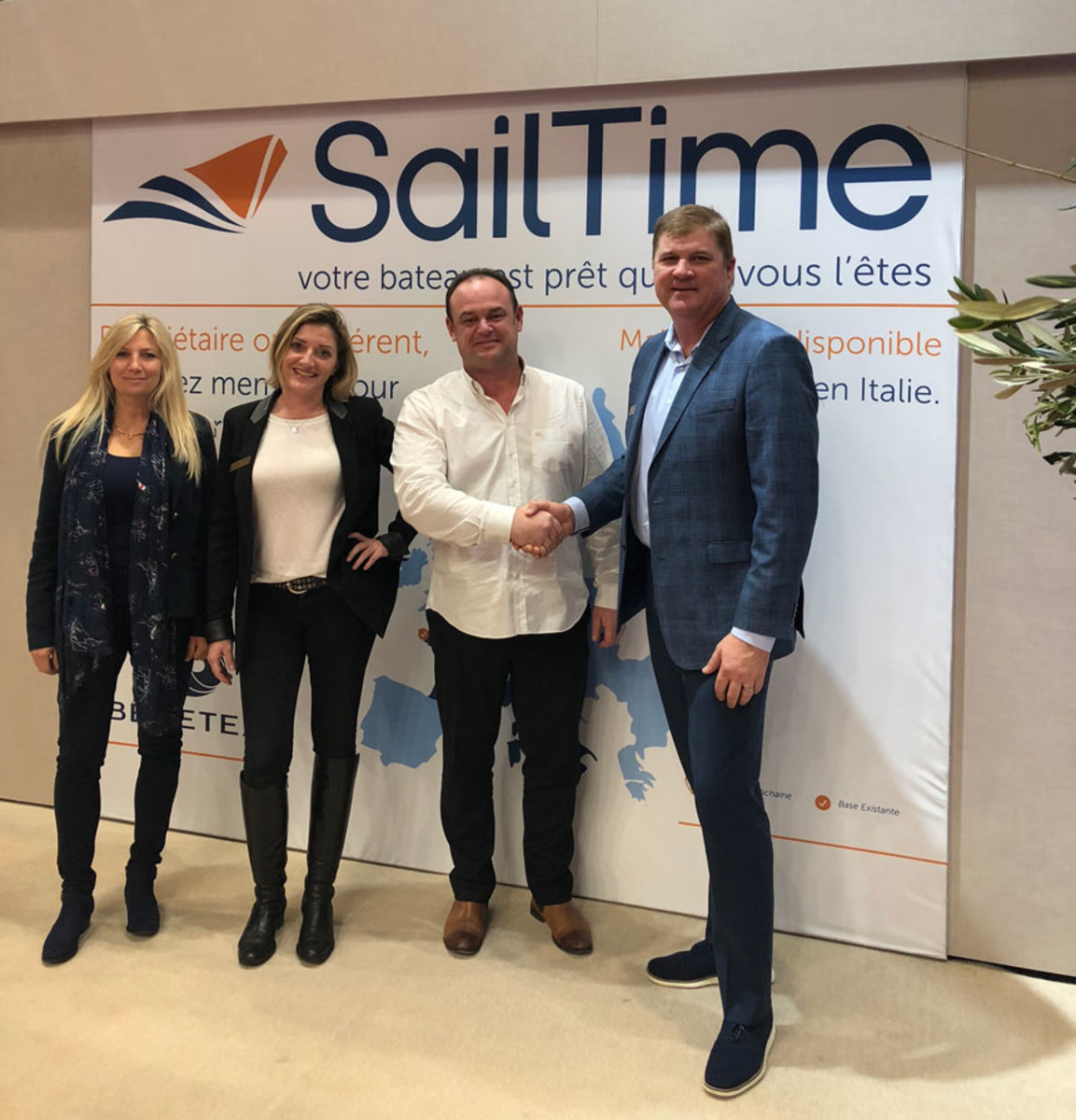 Tammy Hess of SailTime, Delphine Salaun of CN Diffusion, Yann Labbe of CN Diffusion and Todd Hess of SailTime