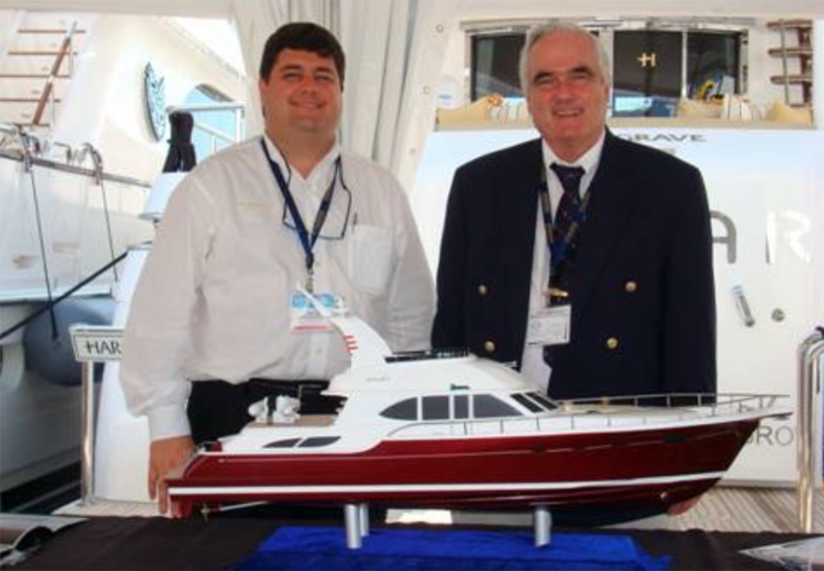 Colonial Yacht Sales President Mike Joyce (right) and Hargrave Custom Yachts President Michael DiCondina (left) have announced plans to sell the Hargrave brand.