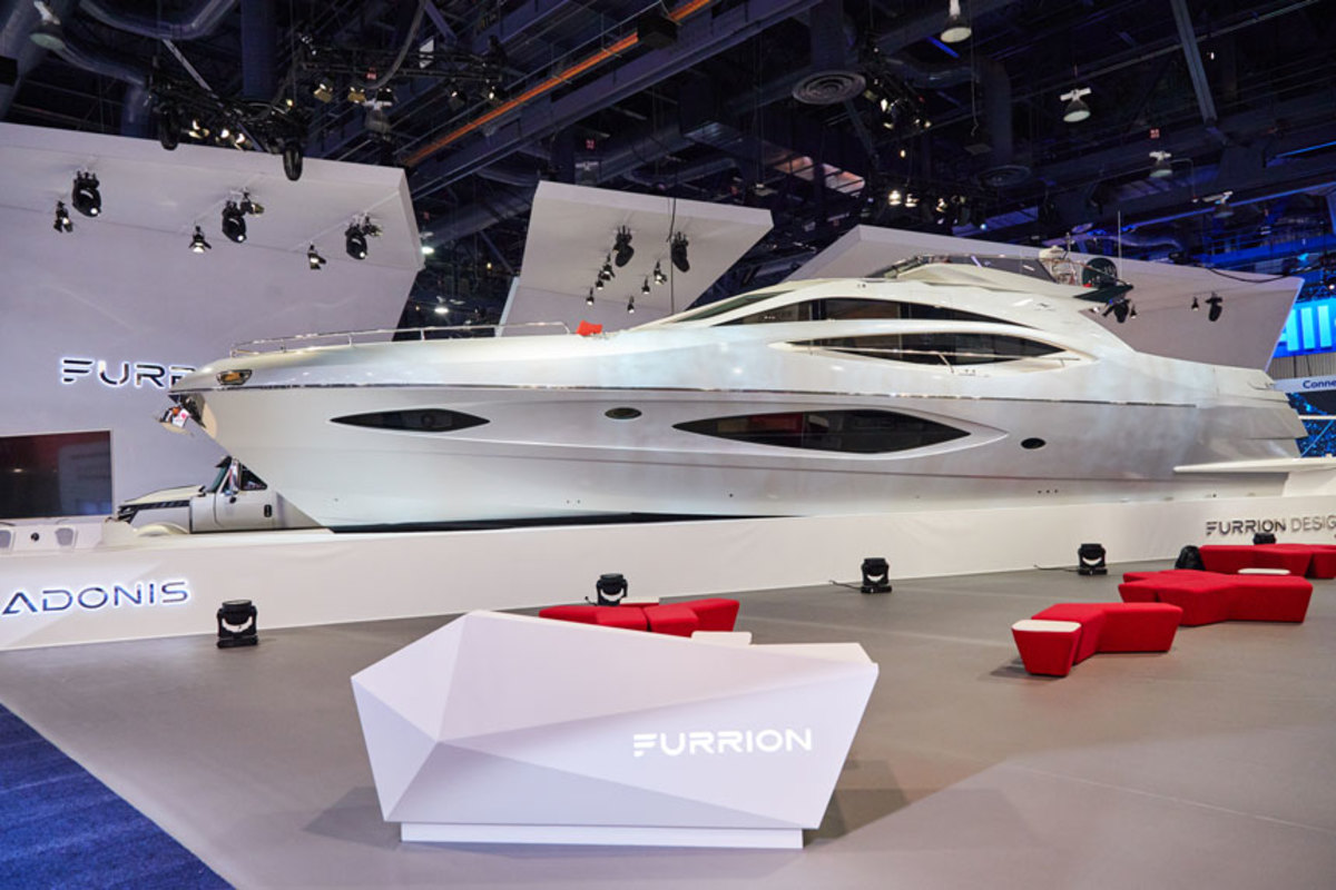 Adonis, a 78-foot Numarine, is on display at the Consumer Electronics Show.