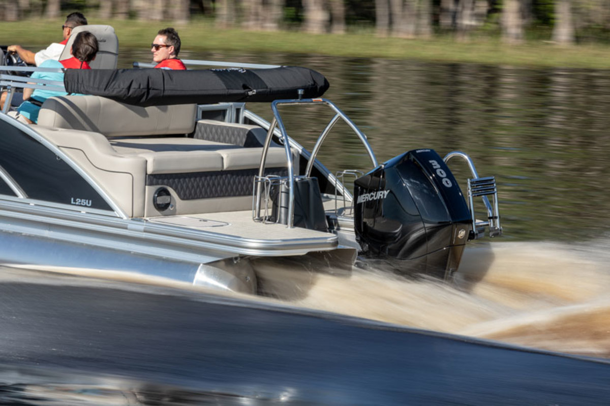 Mercury's V-8 and V-6 FourStroke outboard engines received several patents last year. Photo courtesy of Mercury Marine.