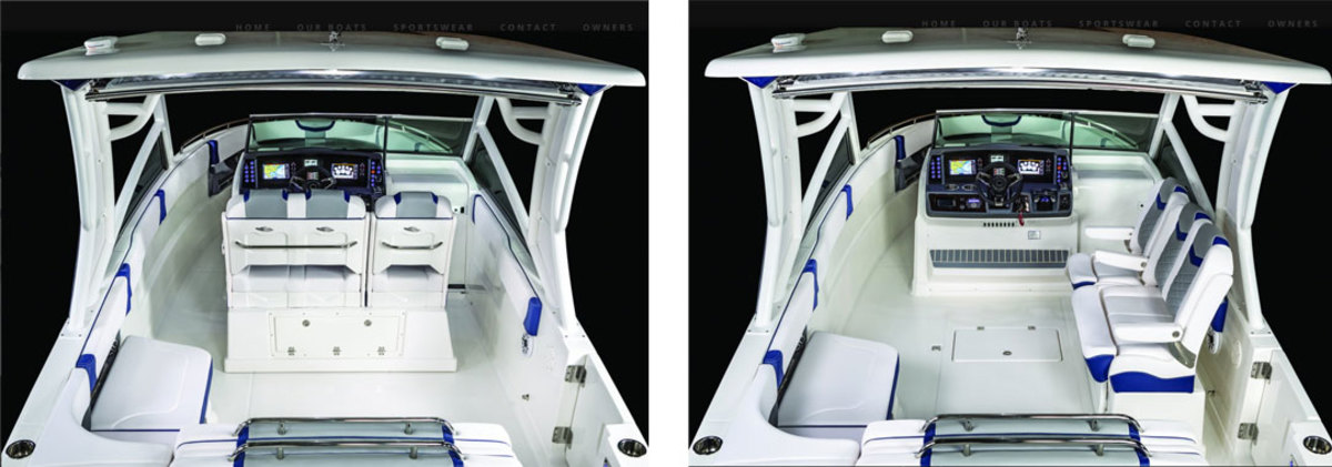 The helm seat can be rotated from the navigating position to the starboard deck wall to create an open cockpit atmosphere.