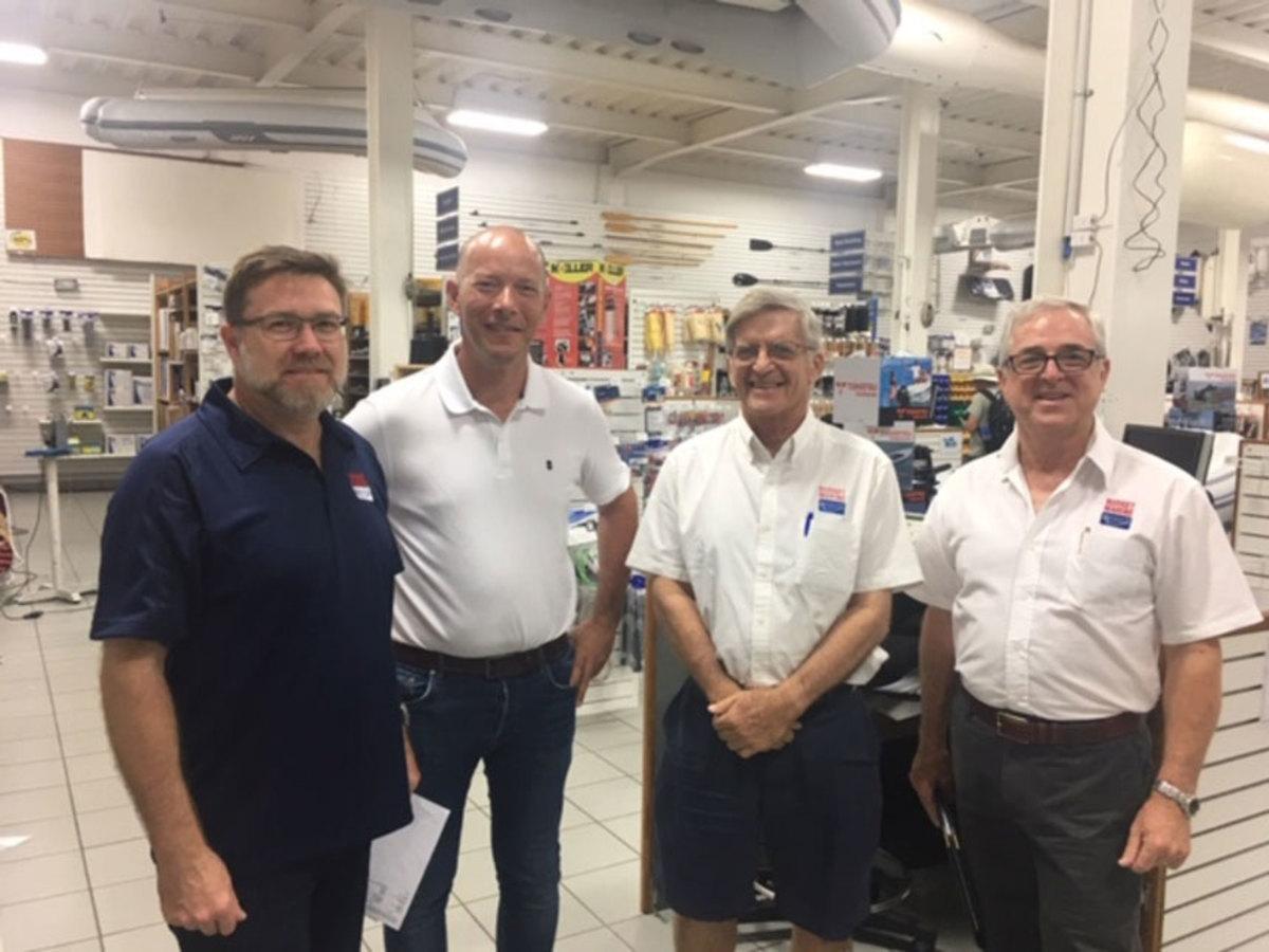 (From left) Budget Marine's Christopher Skinner, Anthony Block, Robbie Ferron and John Skinner.
