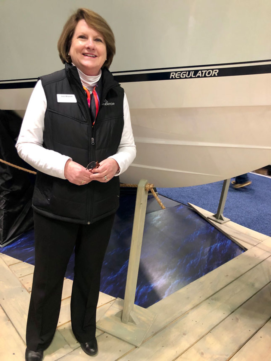Regulator president Joan Maxwell at the New York International Boat Show. Photo by Reagan Haynes.
