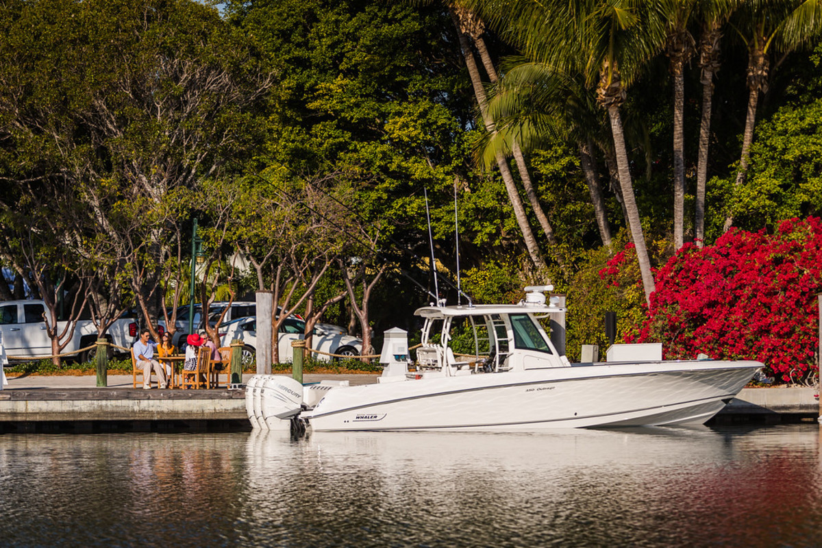 The system is being demonstrated on a Boston Whaler 330 Outrage at Mercury's Lake X test facility in Orlando.