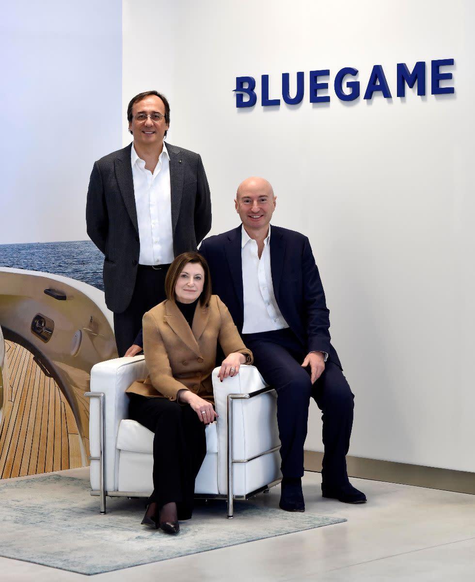 Sanlorenzo's team includes Chairman Massimo Perotti (standing), Carla Demaria, CEO of Bluegame and Ferruccio Rossi, CEO of Sanlorenzo spa.