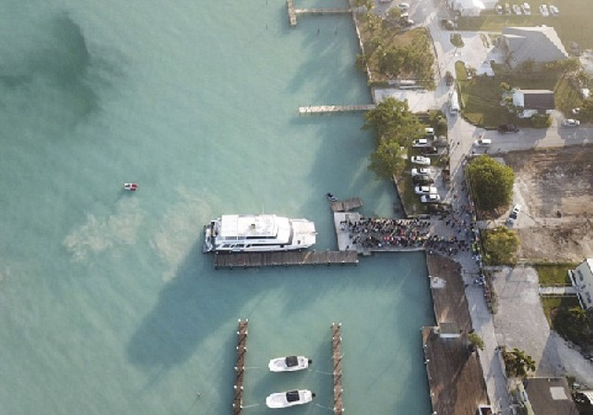 Notice the silt being stirred up by the ferry at the dock.