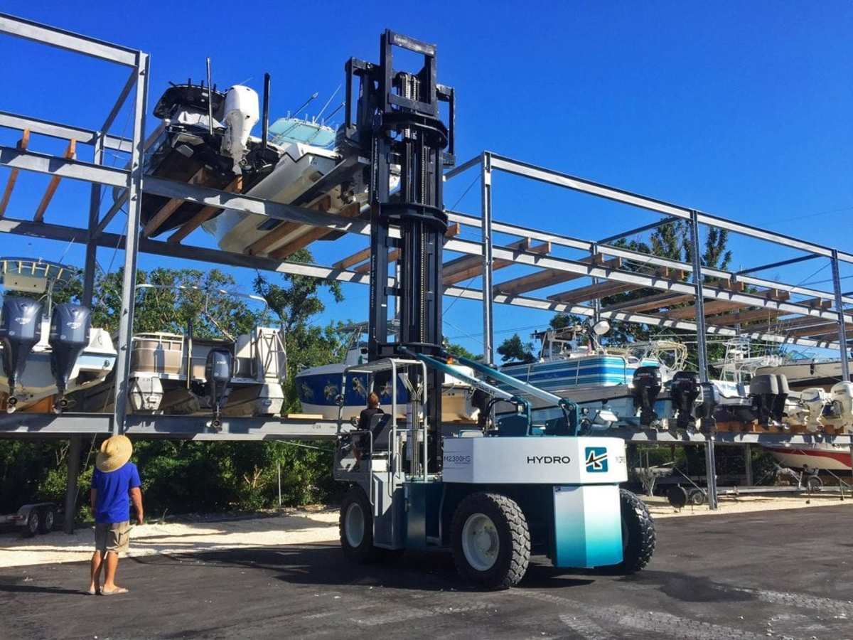 W.E. Johnson sells and services marine equipment like this drystack forklift.