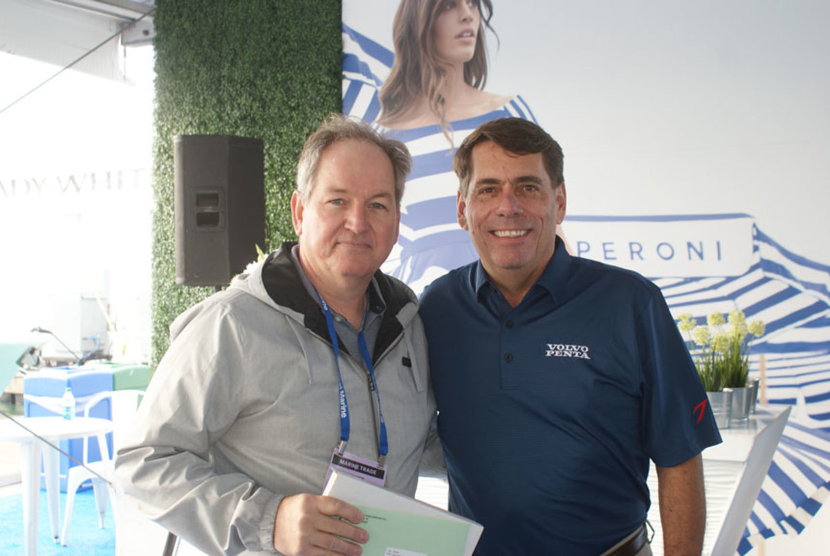 Soundings executive editor Pim Van Hemmen took first place for Boat Tests and Reviews, presented by Ron Huibers, president of Volvo Penta of the Americas.