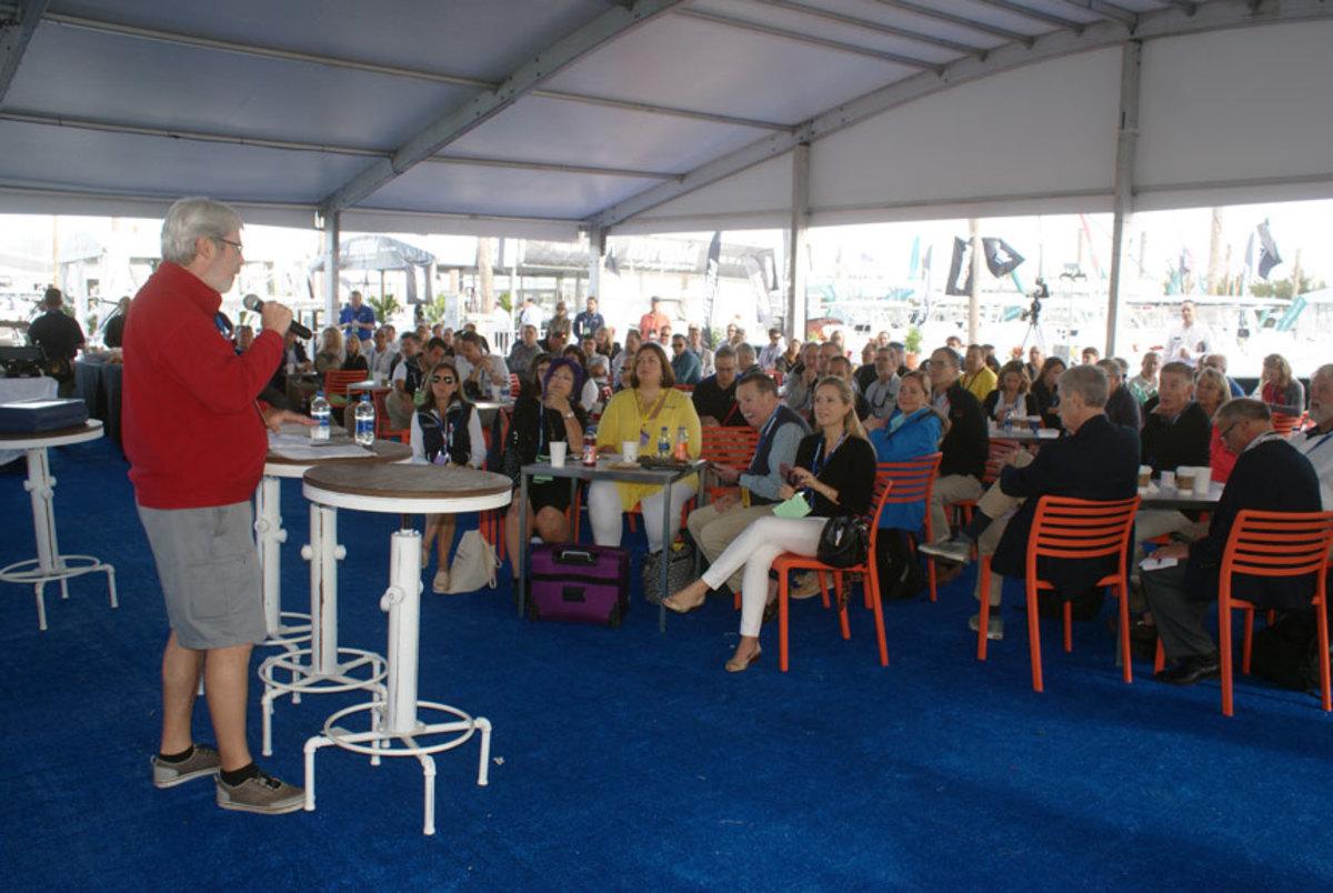 Boating Writers International president Alan Jones presided over the awards ceremony.