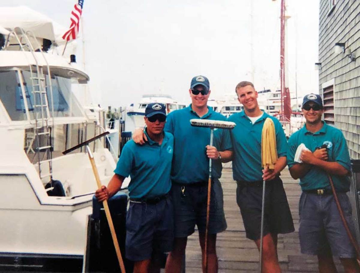 "MMTA director Randall Lyons (second from right, 1998) began his career at a marina.  ""I love getting the word out to young people who might not know about the industry."""