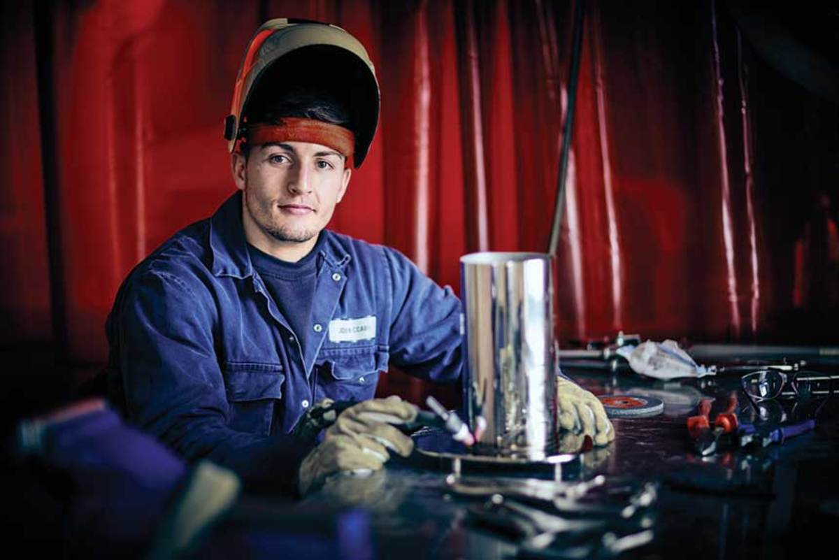 Joshua McCabe, apprentice welder at Princess Yachts.