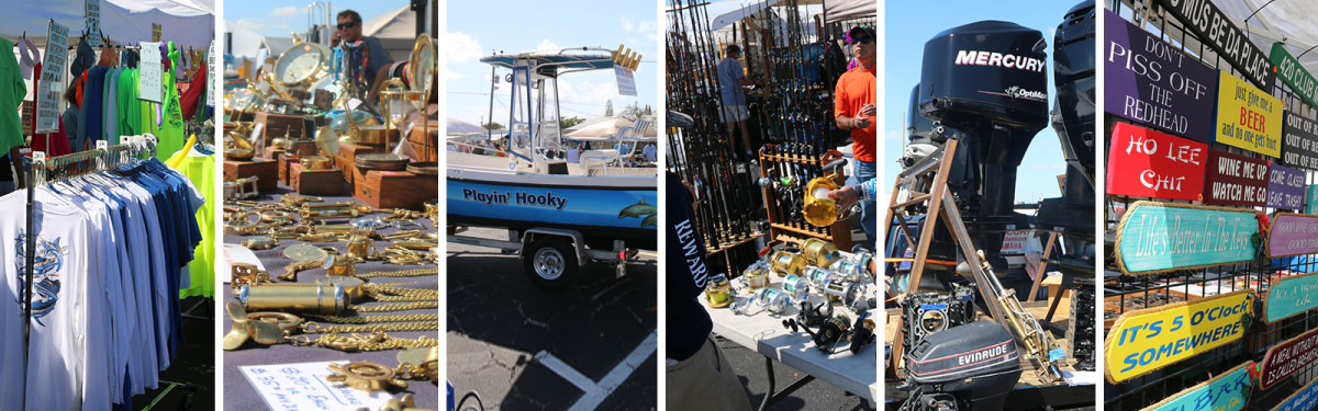 Marine enthusiasts can find anything from boats to motors to signs at the flea market.