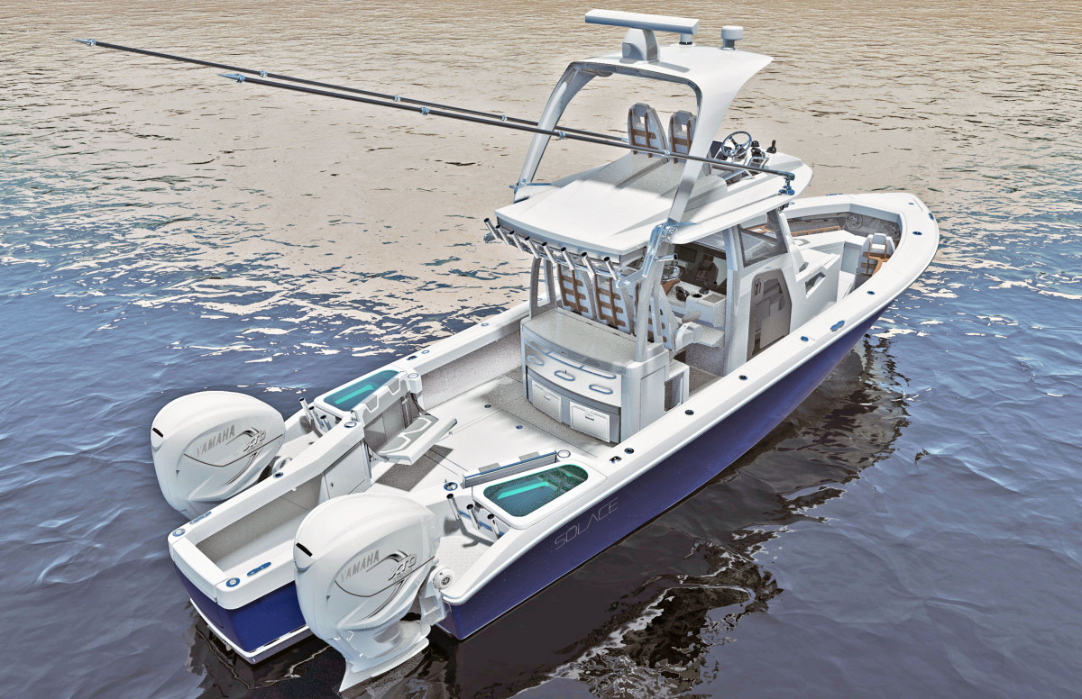 The stern of the Solace 345 is one of the most unique in the industry.