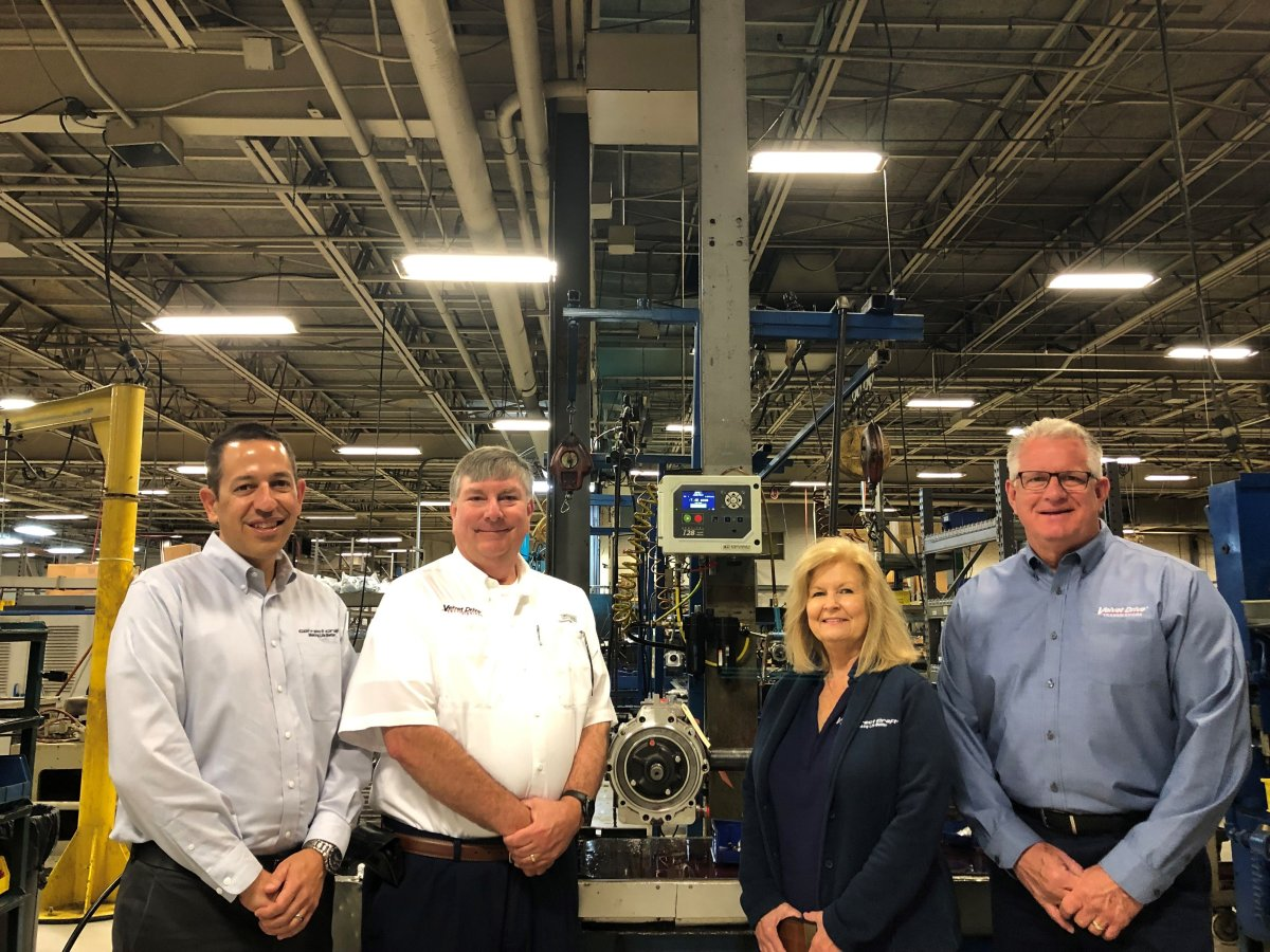 From left, Sean Marrero, Correct Craft chief strategy officer and Watershed Innovation president, John Bolton, velvet drive vice president of operations, Angela Pilkington, Correct Craft vice president/chief of staff and Mark McKinney, Pleasurecraft Engine Group president.