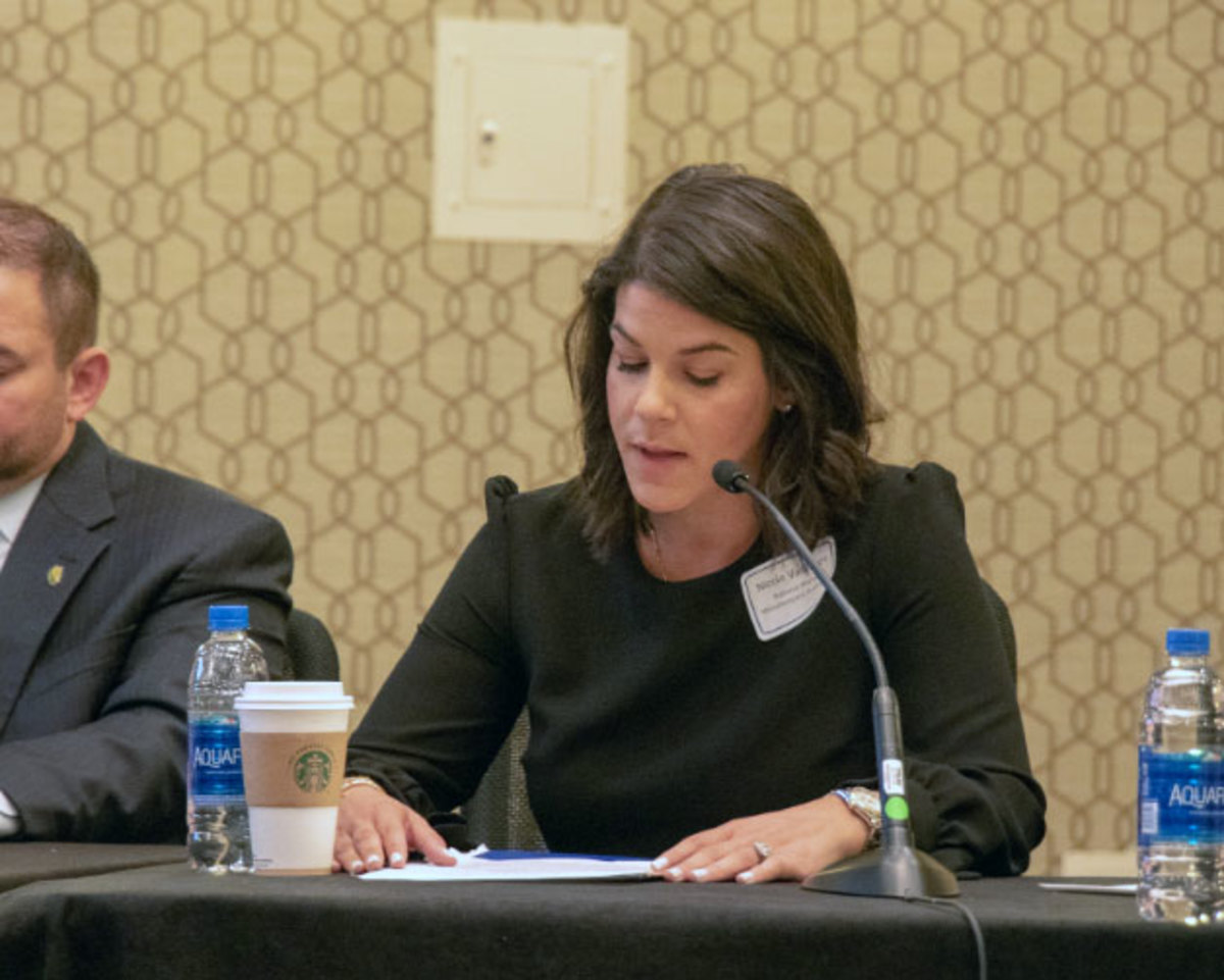 NMMA's Nicole Vasilaros speaks on Capitol Hill.