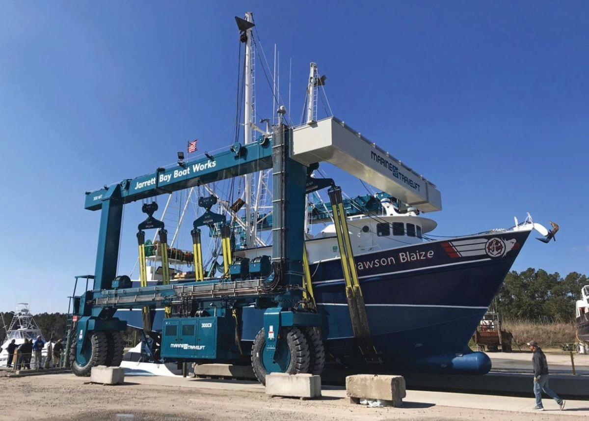 The new 300-ton lift enhances the yard's ability to work on commercial vessels.