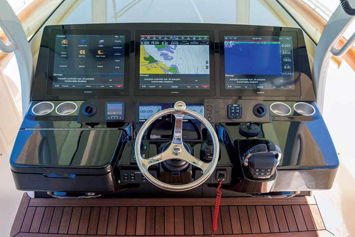 The helm of this Scout center console has the integration and futuristic look that customers want.