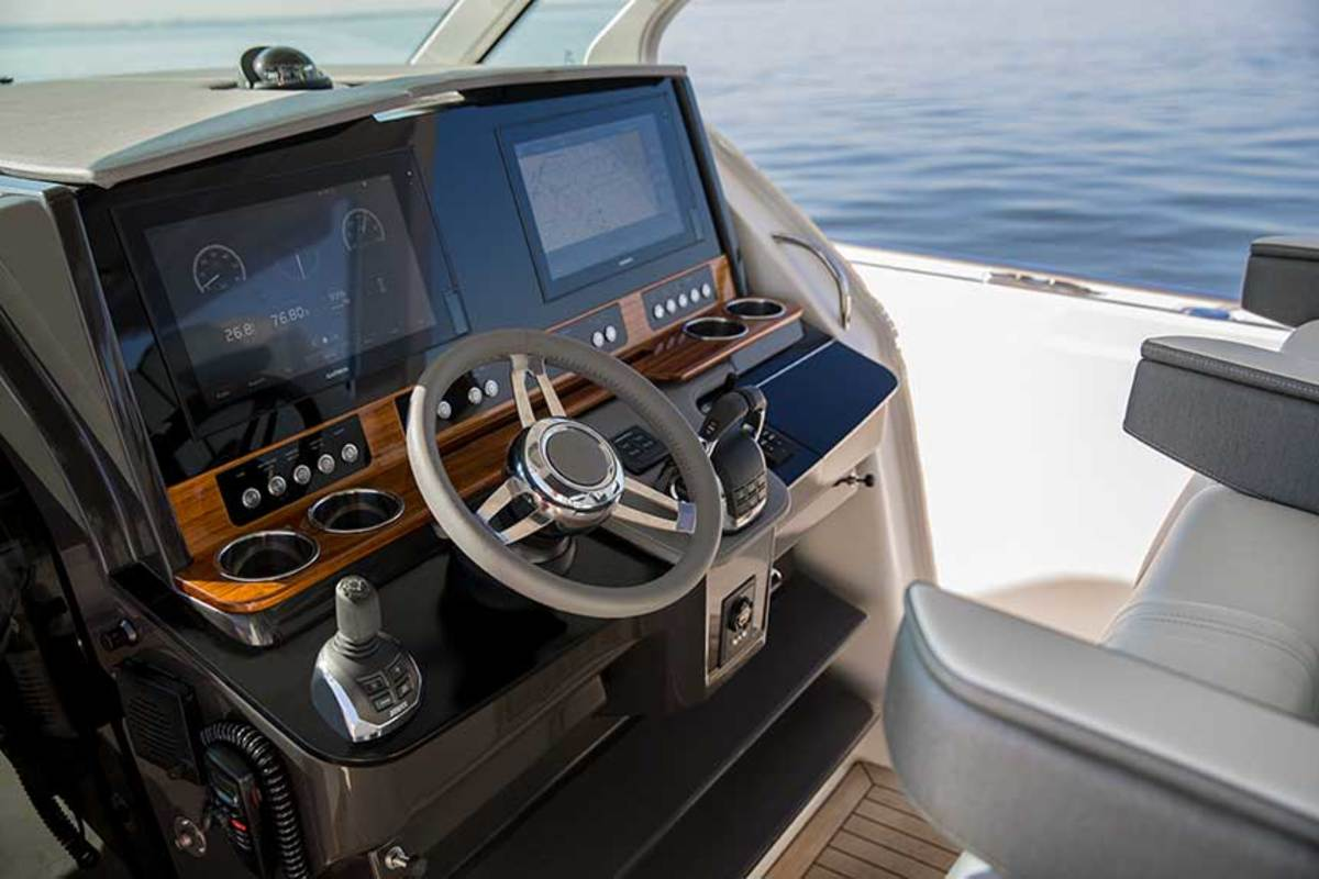Volvo Penta's fully integrated dash on the Tiara Sport 38 Open includes digital controls, joystick and Volvo Glass Cockpit screens.