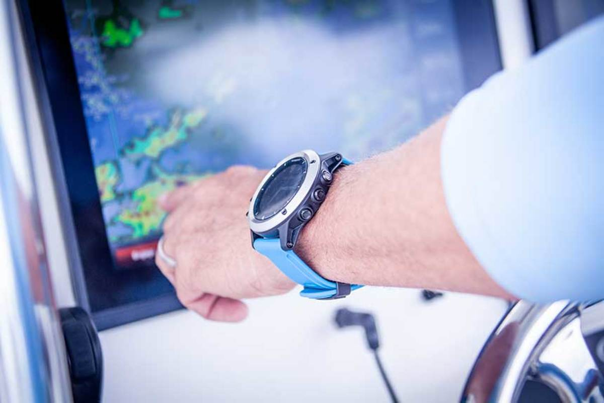 Garmin's quatix 5 watch synchs with Garmin multifunction displays to show navigation data anywhere on the boat. It also allows the helmsperson to control the autopilot.