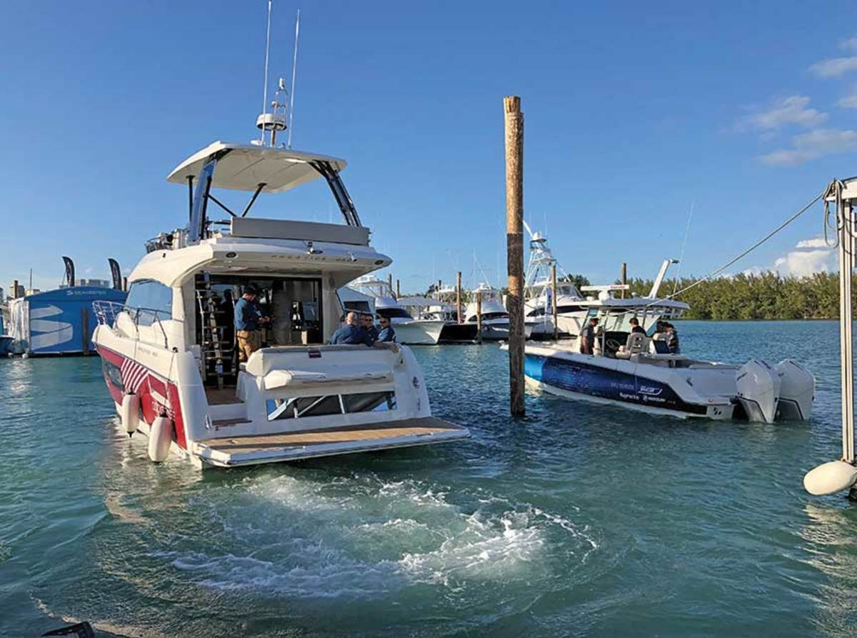 At Miami, Prestige and Boston Whaler showed that collision avoidance works on both Mercury outboards and Volvo IPS engines.
