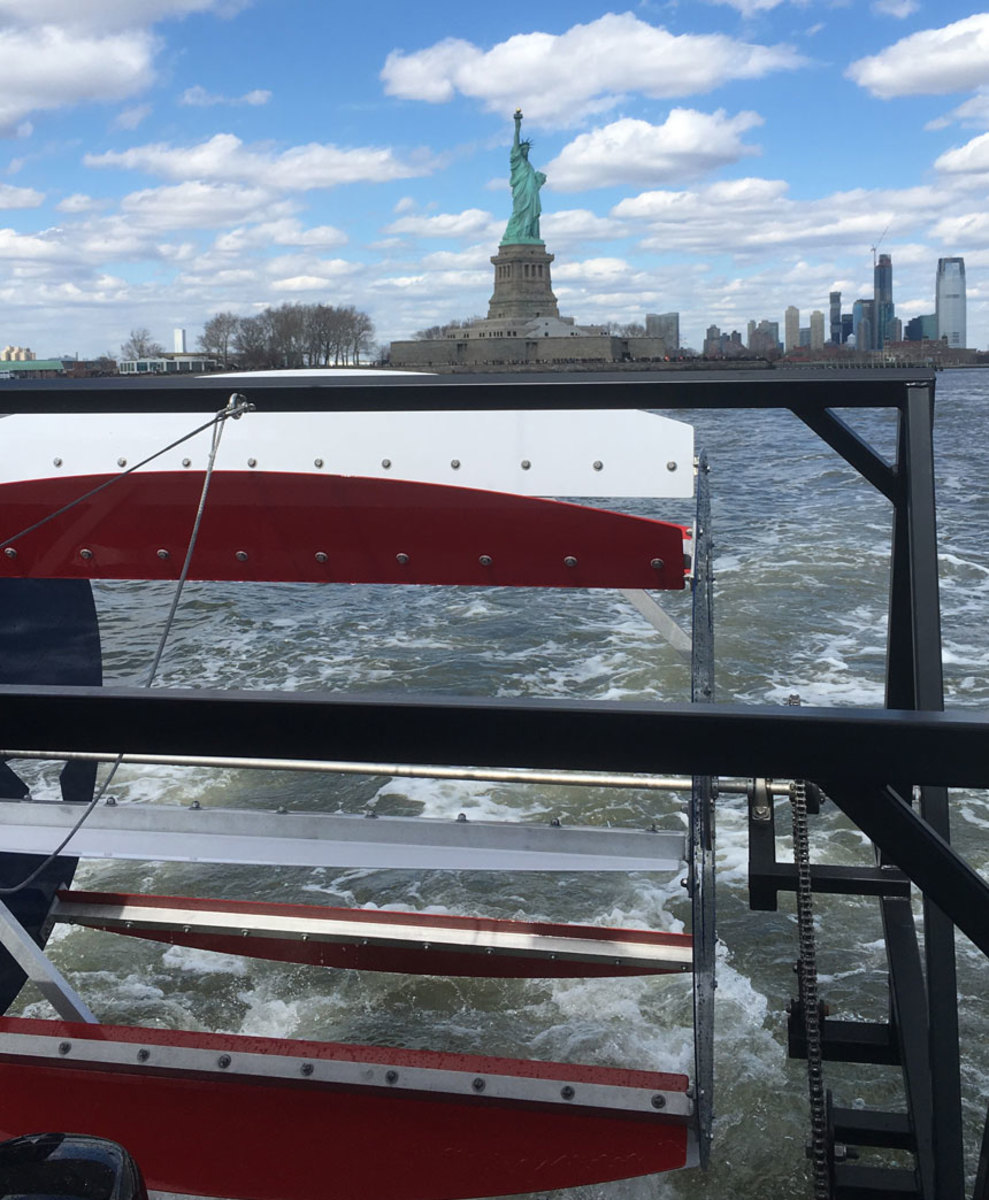 The pedals power a paddlewheel and one the highlights of the tour is the Statue of Liberty.