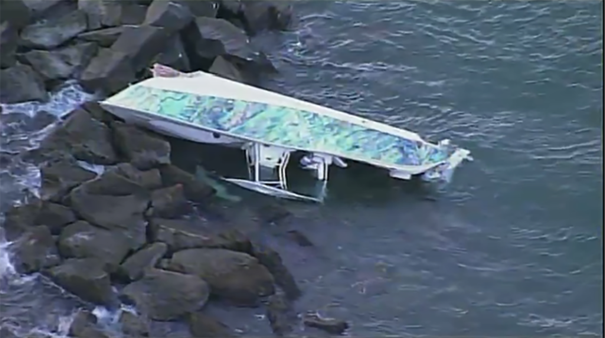 The 32-foot Cape Horn center console was found on the south side of Government Cut's north jetty. Photo by NBC6 Miami.