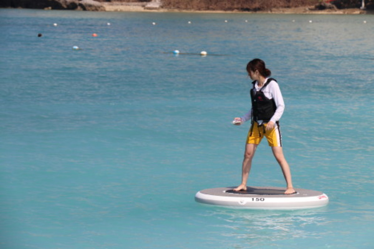 Users lean in the direction they want to go and Wheeebo glides across the water.
