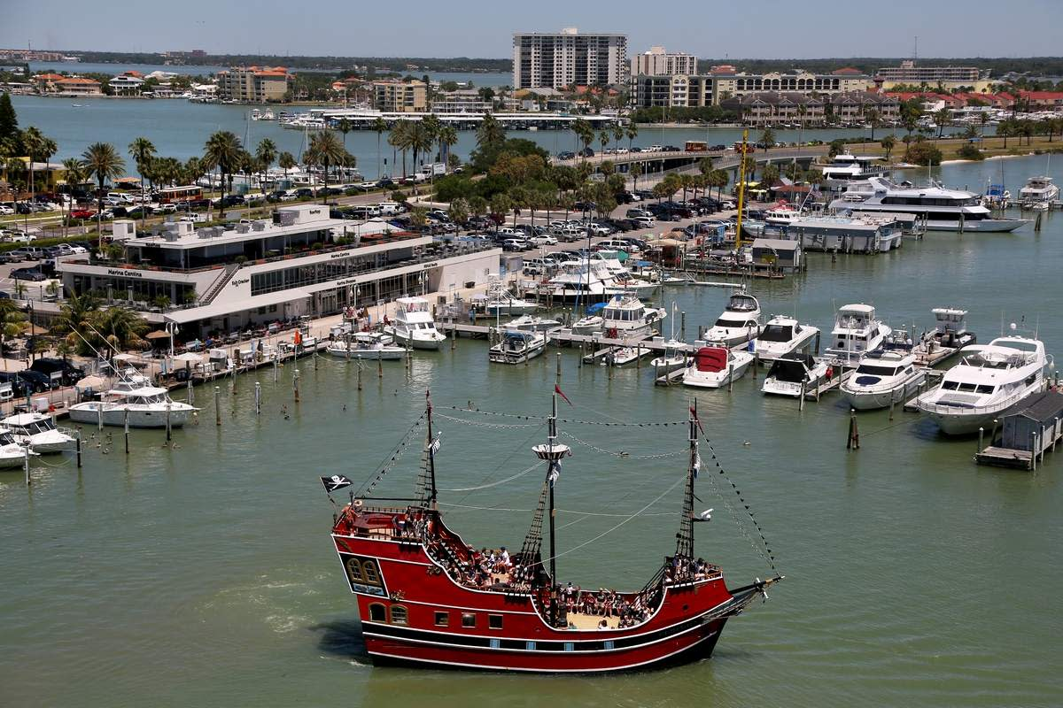 The Clearwater Beach Municipal Marina is home to charters, dolphin tours and Captain Memo's Pirate Cruise, shown here.