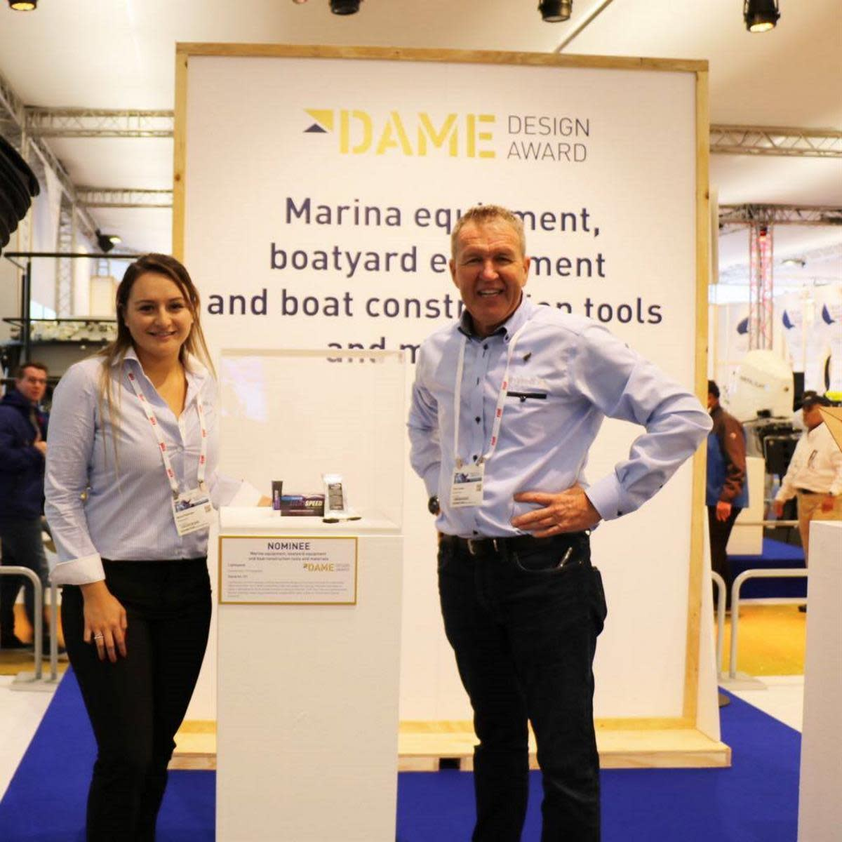 General Manager Nona Pederson (left) and Managing Director Clint Jones of Oceanmax at the DAME awards in Amsterdam.