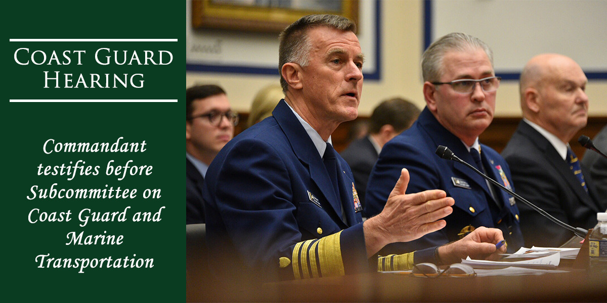 Coast Guard Commandant Admiral Paul Zukunft testifies during the House Transportation and Infrastructure Subcommittee on Coast Guard and Maritime Transportation hearing in March, 2018. U.S. Coast Guard photo by Petty Officer 1st Class Patrick Kelley.