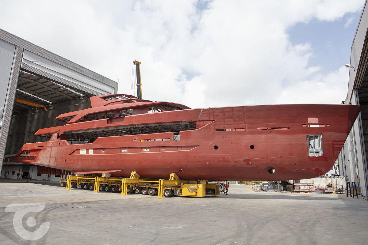 Alia's 55-meter Al Waab II under construction.
