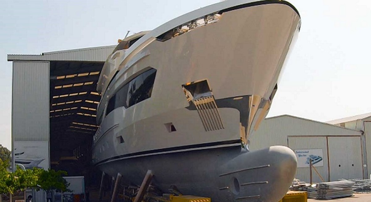 Ava Yachts 110 comes out of the shed.