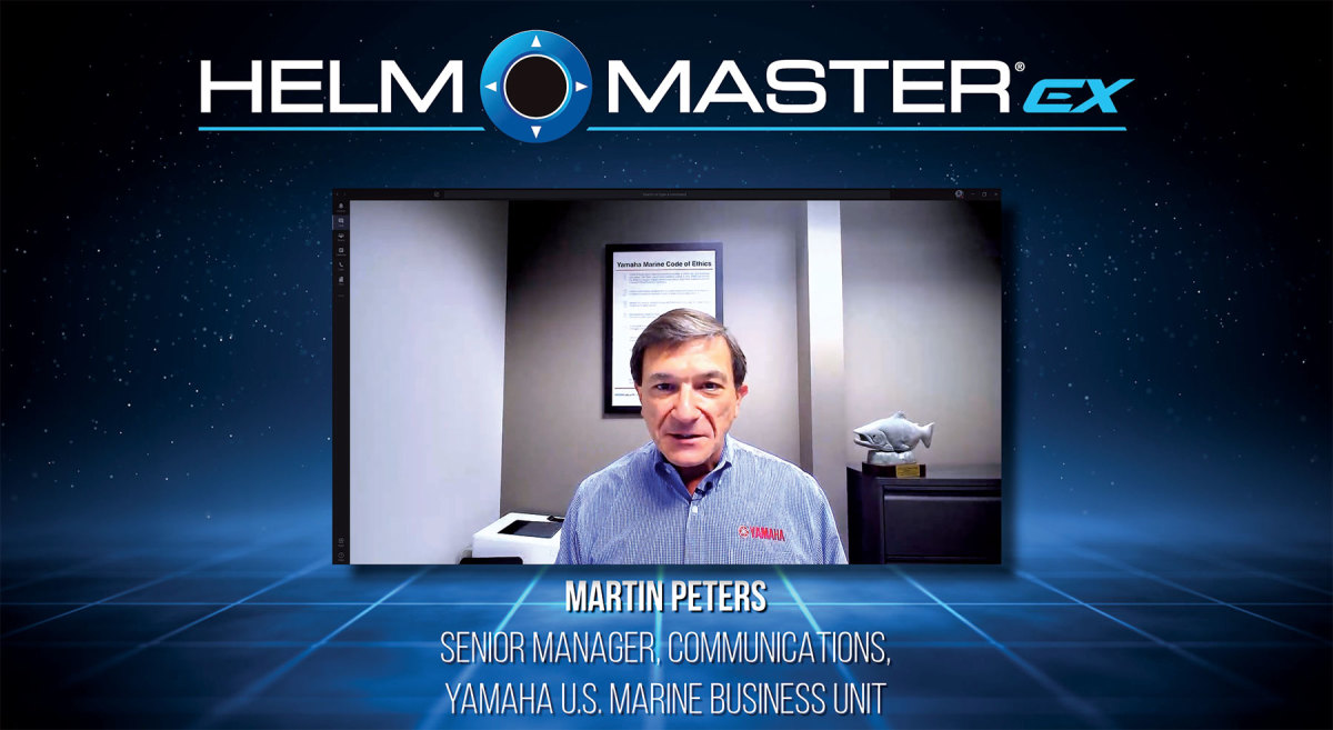 Martin Peters of Yamaha during the virtual launch of the Helm Master EX joystick system.
