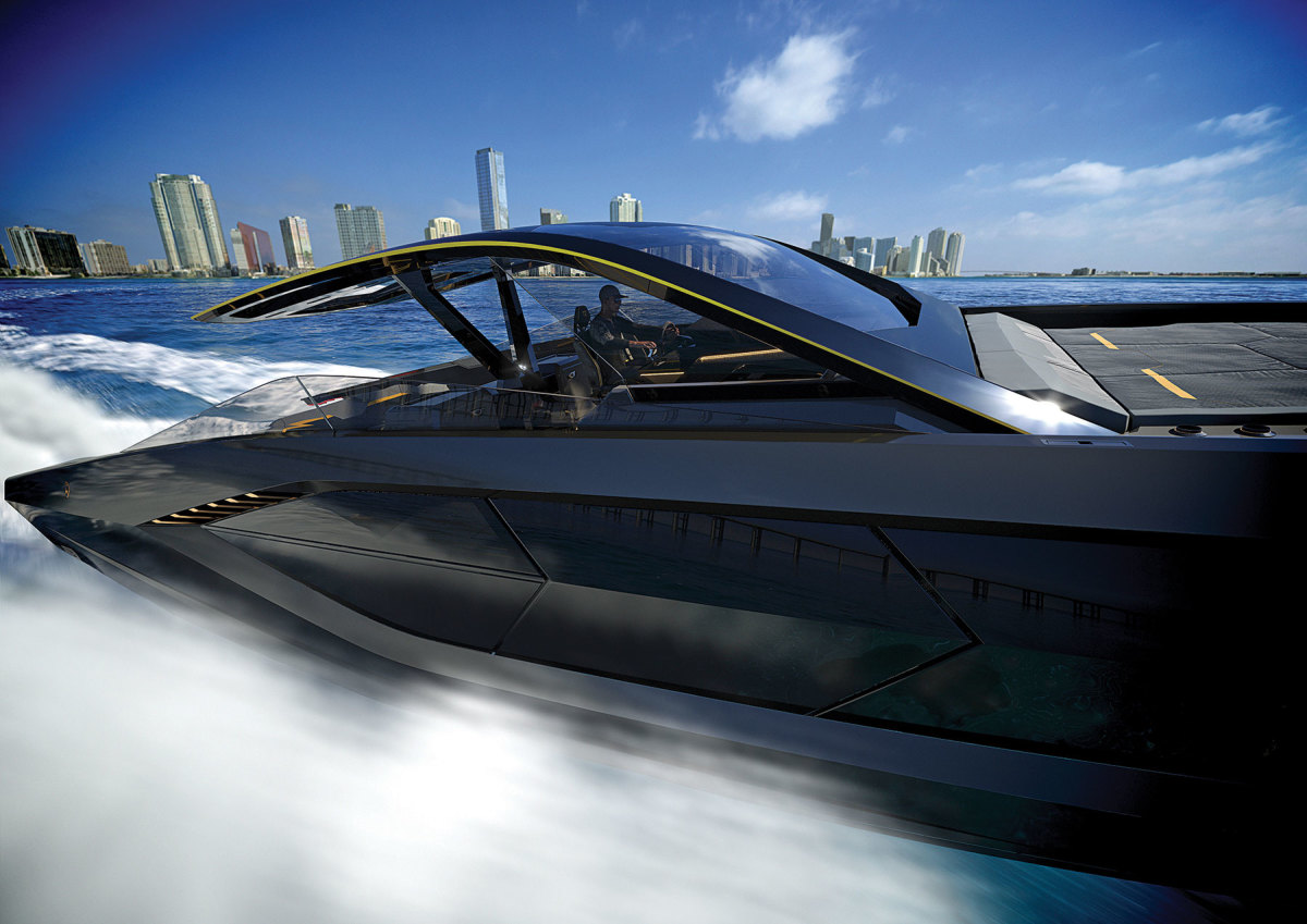 Like its fire-breathing street brethren, the Lambo yacht will be built of carbon fiber.