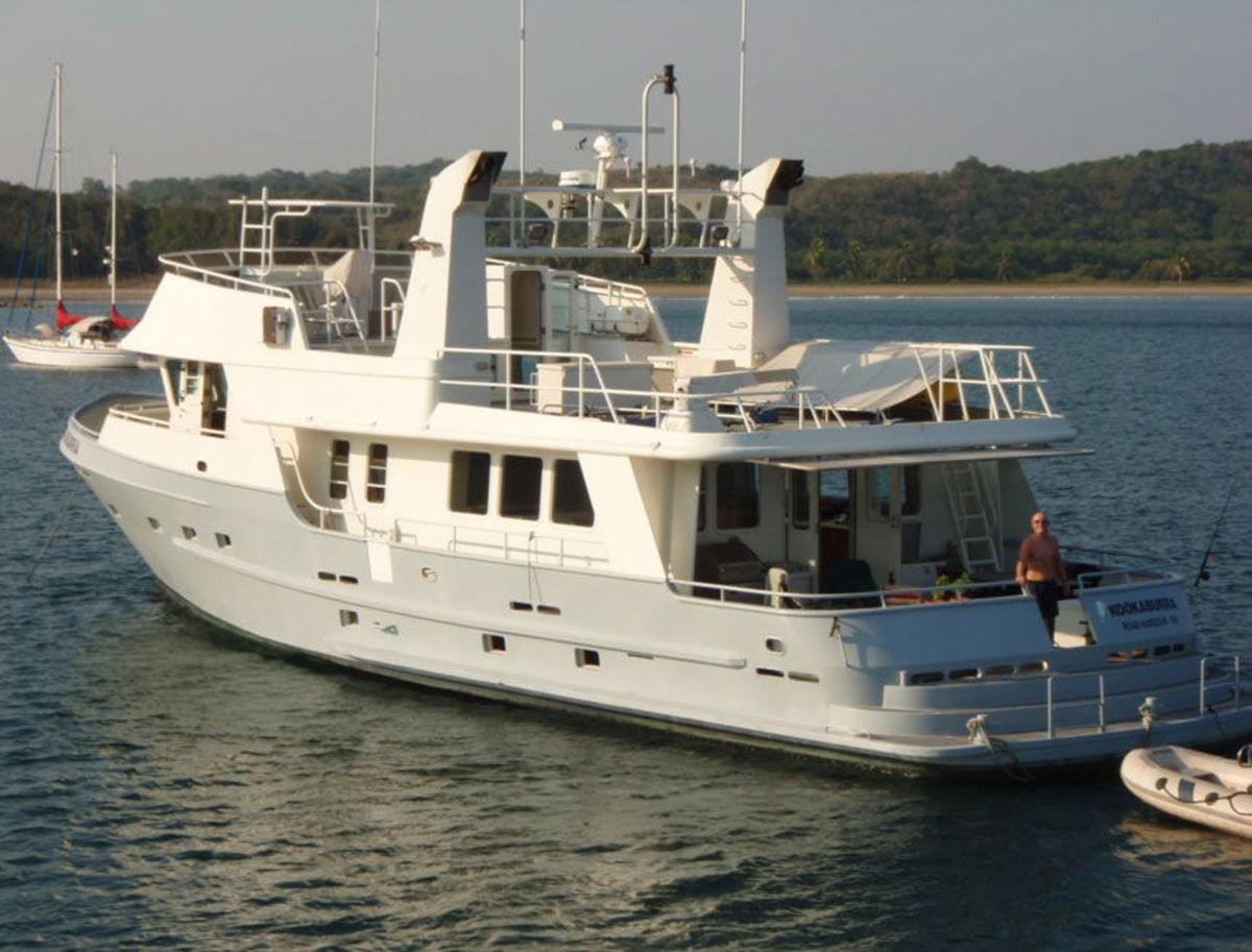 """OS 76 - MV """"Kookaburra"""" - Vancouver to Alaska. """"1720 nm on 6000 ltrs of fuel, incl about 4 hours of genset/ day. We run at 1425 rpm and that is 8.2 knots (0.92 us gl/nm, 1.1 nm/us gl)."""" Spends summer in Alaska and winter in Mexico. Cape Flattery (Washington State) to Cabo (Baja Mexico) """"Fuel consumption, harbour to harbour was about 1us gl/nm, genset use was minimal, say 3 hrs/day, average distance run was 210nm/day @ 1570rpm (8.75 knots)."""""""
