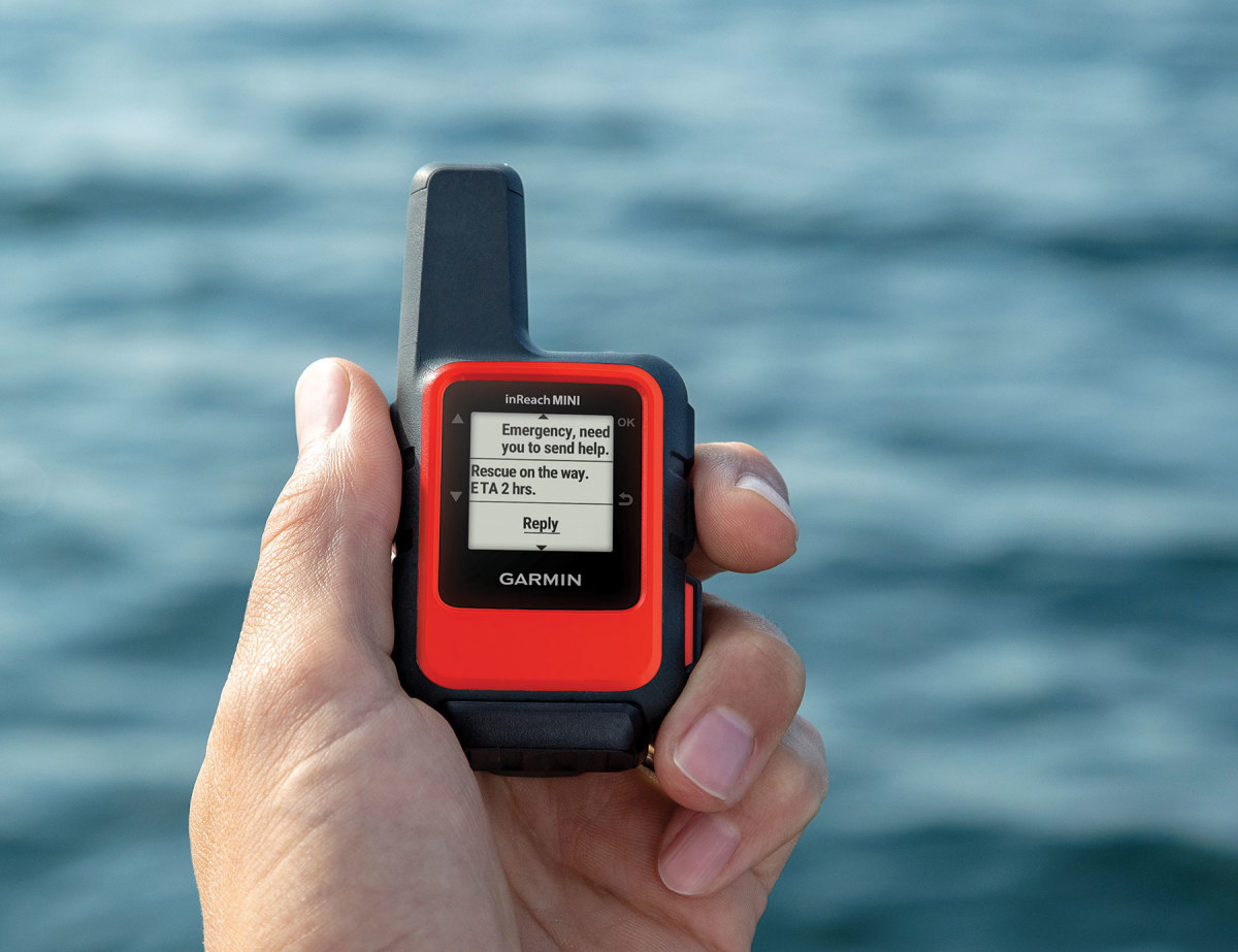 The inReach Mini from Garmin interfaces with smartphones via Bluetooth for easier texting.