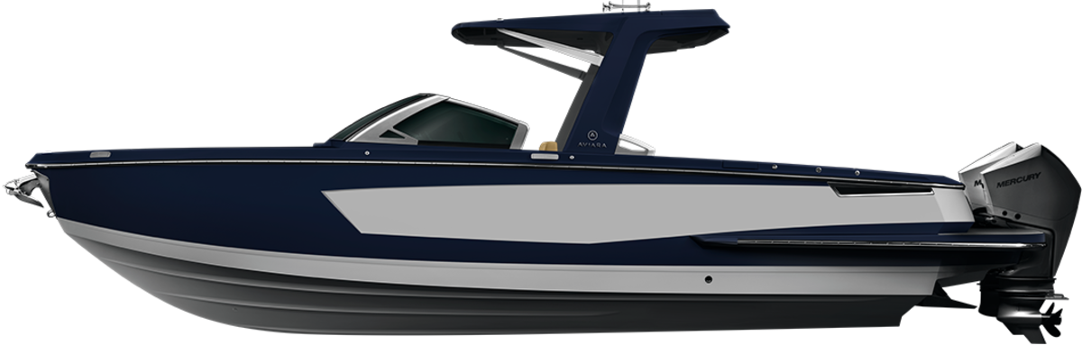 The 32-footer is available with twin outboards or stern drives.