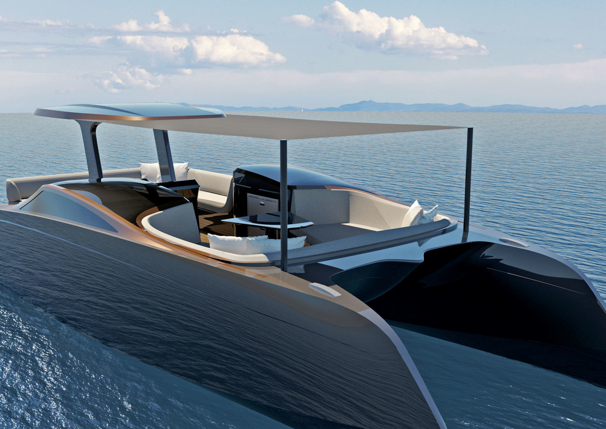 Powered by twin 50-kW Torqeedo Deep Blue motors, the zero-emission 33 Sky will have a cruise speed of 12 knots and a range of 100 nautical miles at 9 knots.